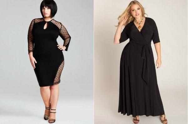 Чорна сукня для повних жінок - фото фасонів
