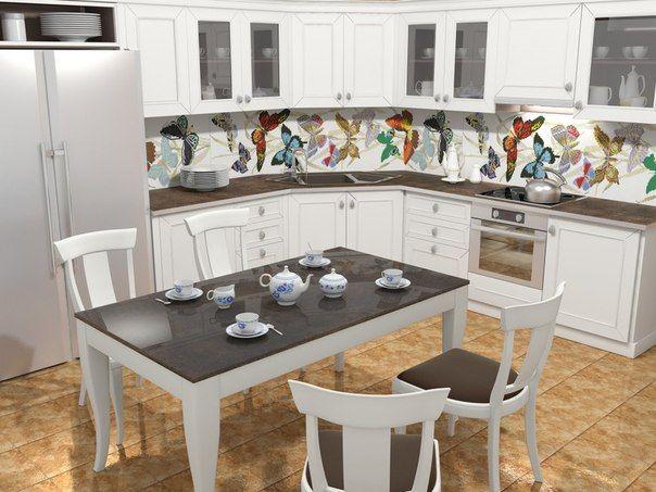 Дизайн фартуха для кухні з плитки - фото в інтер`єрі