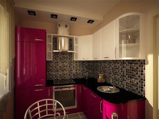 Дизайн маленької кухні 6 кв.м з холодильником - фото інтер`єрів