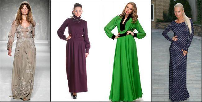 Довга сукня в підлогу з рукавами - фото 28 моделей для свята і повсякденного виходу