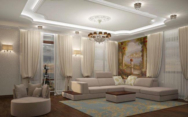 Фрески в інтер`єрі вітальні: фото, дизайн