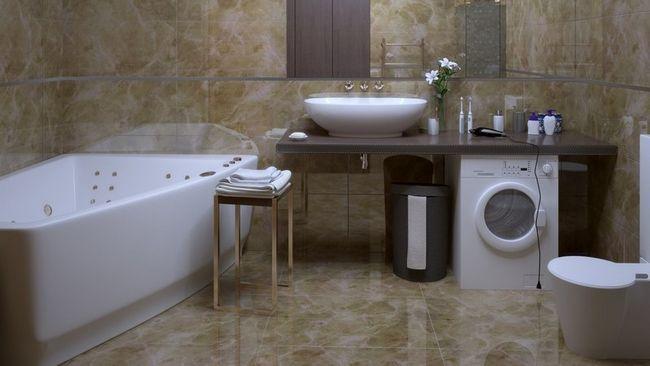 Інтер`єр ванної кімнати в сучасному стилі з пральною машиною - фото, ідеї